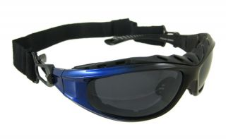 Blue Interchangeable Motorcycle Riding Goggles 4 Lenses