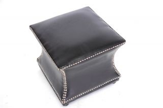 New Modern Brown Leather Designer Cube Hour Glass Concave Nail Head Ottoman Pouf