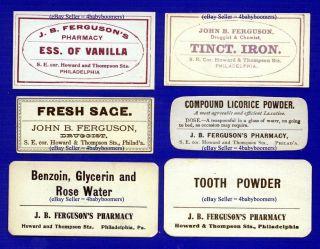 6 Vintage Ferguson Drugstore Pharmacy Antique Philadelphia Medicine Bottle Label