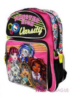 """Monster High Backpack Lighting Bolt 16"""" Large Girls School Book Bag Draculaura"""