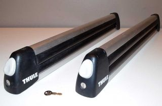 Thule 725 Flat Top 6 Ski Snowboard Racks with Locks and Key Roof Top Carrier