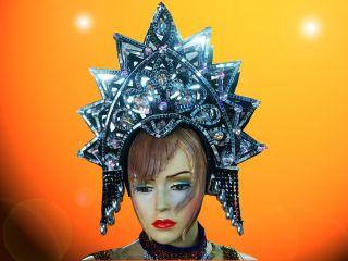 Showgirl Drag Carnival Cabaret Dance Costume Shiny Crystal Mirror Headdress