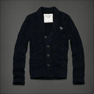 Abercrombie Fitch Redfield Mountain Men's Wool Cardigan Sweater $250 Navy New L