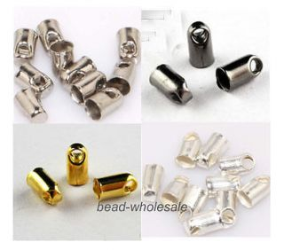 300pc Necklace Tube Tip End Beads Finding Bead Caps 2 4mm for Jewelry Making DIY