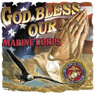 Religious Tshirt God Bless Our Marine Corps Faith Christian Pray USMC Devil Dog