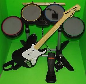 PS3 Rock Band Bundle Set Wired Drums Wireless Guitar w
