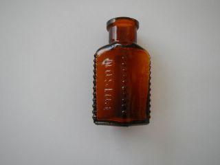"3 1 2"" Amber Poison Medicine Bottle"