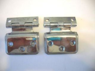 Vintage Antique Chrome Ice Box Door Hinges Old Icebox Fridge Hardware Cabinet