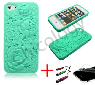 For Apple iPhone 5 Soft Skin Cover 3D Teal Blue Rose Laser Cut Case Film Pen
