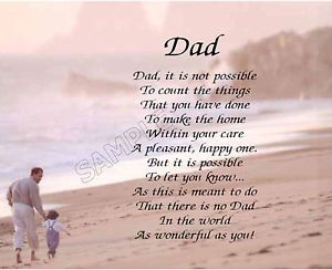Dad Personalized Poem Memory Birthday Father's Day Gift