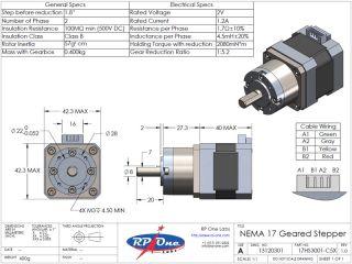 Geared Stepper Motor for 3D Printer RepRap Prusa Makergear M2 Extruder