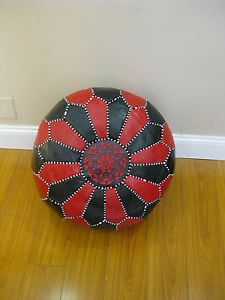 Multicolored Stuffed Moroccan Leather Pouf Pouffe Ottoman