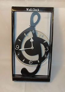 Black Wood Glass Wall Clock Instrument Music Sheet Note Musical Musician Decor