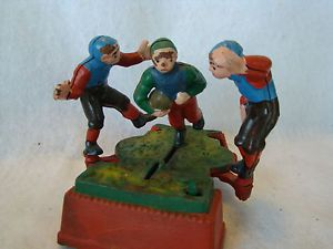 Vintage Antique Cast Iron Mechanical Bank Football Players Works