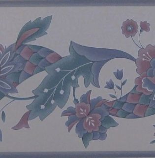 Floral Wallpaper Border Kitchen Dining Room Pine Cone Red Green Blue Beige