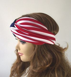 American Flag Boho Turban Twist Headband Head Scarf Red White and Blue Headwrap