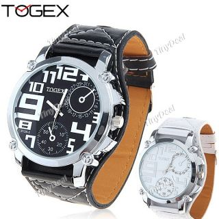 White Cool Synthetic Leather Wide Band Quartz Watch Wrist Watch Togex