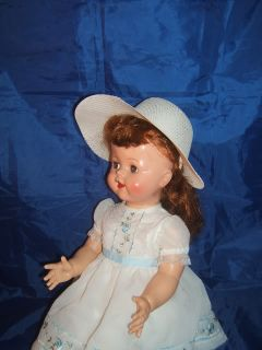 "Poke Bonnet Hat Suits 22"" Pedigree and Ideal Saucy Walker Doll Antique Dolls"
