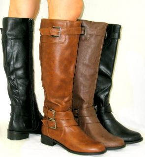 Cute Flat Riding Boots Zipper Tall Knee High Faux Leather Equestrian
