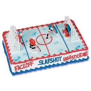 6pc Hockey Players Goal Cake Topper Boy Birthday Party Decorations NHL