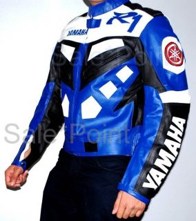 Yamaha R1 Blue Motorcycle Racing Biker Leather Jacket