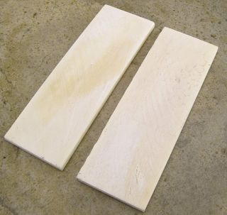 Pair of 2 Smooth White Bone Fixed Folding Blade Handle Slabs Knife Scales Blanks