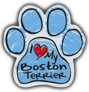 Scribble Paw Dog Magnets I Love My Boston Terrier Cars Trucks Refrigerators