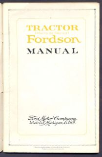 Brochure Instructions Manual Ford Tractor Fordson 1921 L K