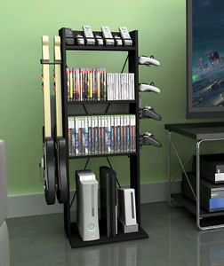 ... Video Game Console Storage Tower Rack Organize PS3 Xbox Wii Controller  Guitar ...