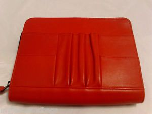 Levenger Red Leather Travel Organizer Zip Round Travel Case