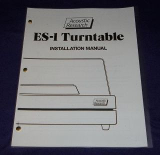 Acoustic Research ES 1 Turntable Owners Manual Useful for Other AR Turntables