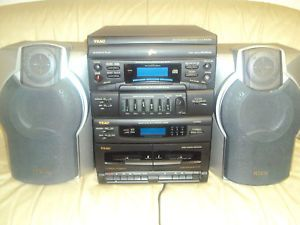Teac 3 Disc 2 Tape Am FM Shelf System New and 2 Used Aiwa Speakers