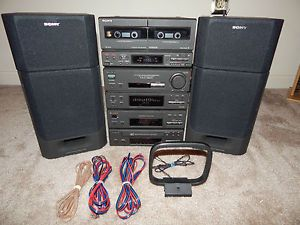 Sony Mini HiFi Micro Shelf Stereo System w Am FM Dual Tape Speakers Equalizer