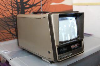 Zenith Portable TV Vtg 1980s Space Age Danish Modern Am FM Radio Television