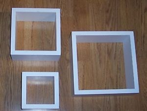 Set of 3 White Square Cube Wall Mounted Wood Shelves Shelf Home Interior Decor