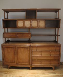 Mid Century Wall Unit Credenza Great Cond Danish Modern Cabinet Shelving 1960s
