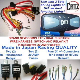 LED ft Dual Function Hi Low Auxiliary Fog Light Switch w Wire Harness 2 Relays