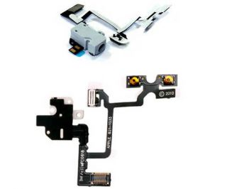 Headphone Jack Volume Button Mute Switch Ribbon Flex Cable iPhone 4 White