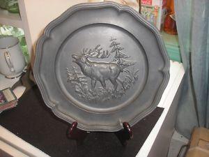 Antique Vintage German Pewter Plate Wall Hanging Elk