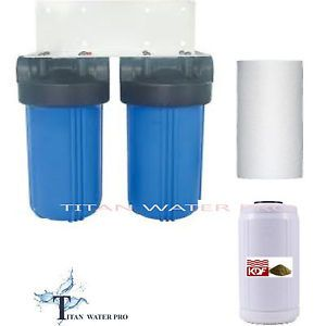 "Whole House Big Blue Water Filter System KDF85 GAC Sediment Filters 3 4""NPT"