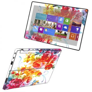 Microsoft Surface RT Case Decal Cover Skin Vinyl Sticker White Rainbow Rose