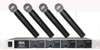 4 CH UHF Wireless Four Handheld Microphone Mic System KS 90H