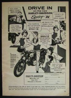 1962 Harley Davidson Motorcycle Sprint H at The Drive in Vintage Cartoon Ad