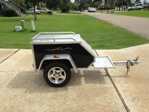 2007 Aluma 3 75x7' 600 GVW Tow Behind Motorcycle Trailer MCT Black