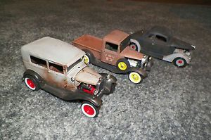 Three Plastic Built Model Cars and Truck Rat Rods OL School Hot Rods