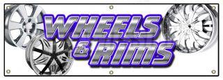 "72"" Wheels Rims Banner Sign Chrome Rim Wheel Tires Lease Sale Used Cars Auto"