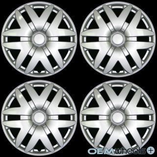 """4 New Silver 15"""" Hub Caps Fits Acura FWD SH AWD JDM Center Wheel Covers Set"""
