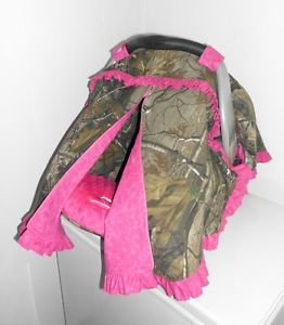 Real Tree Camo Hot Pink w Ruffles Infant Car Seat Cover Tent More Fabrics