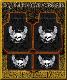 4pc Harley Davidson Skull Front Rear Floor Mats