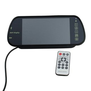"""7""""TFT LCD Car Rearview Mirror Monitor w MP5 2CH Video Input FM Audio Transmitter"""
